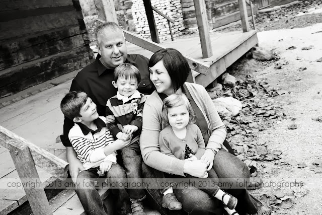 black and white photo of a family at Fowler Park - Terre Haute, IN