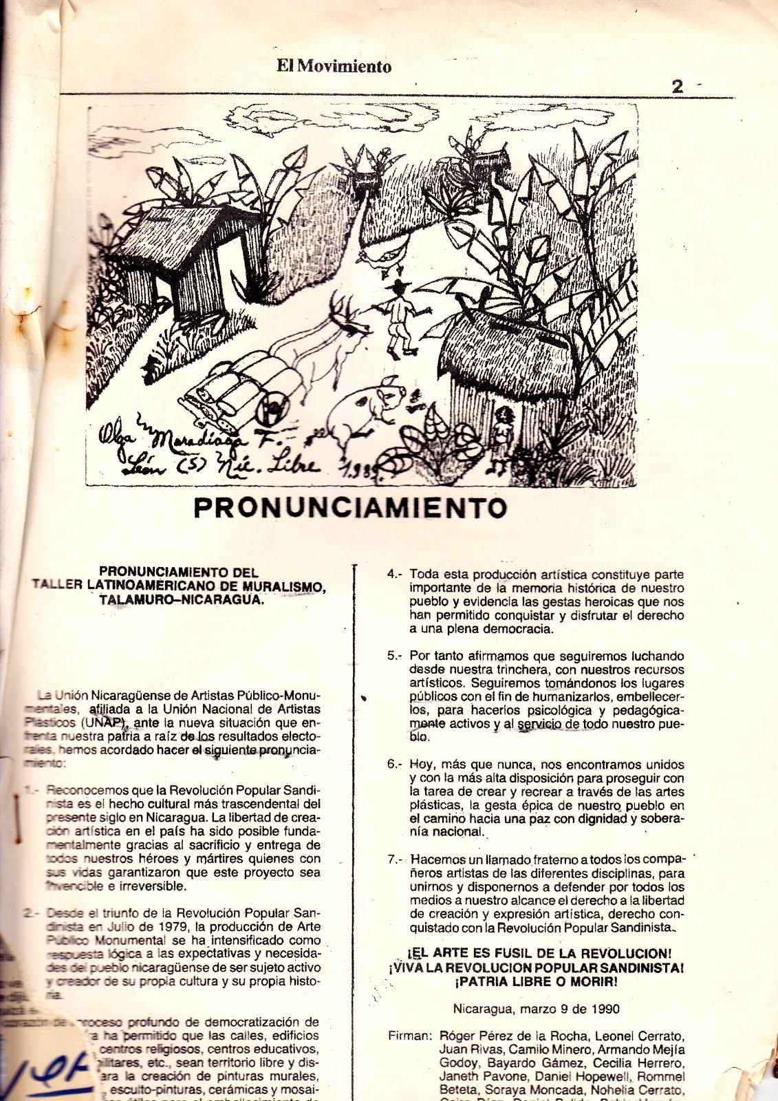 """PRONUNCIAMIENTO EN """"EL ANDAMIO"""" 4-1990"""