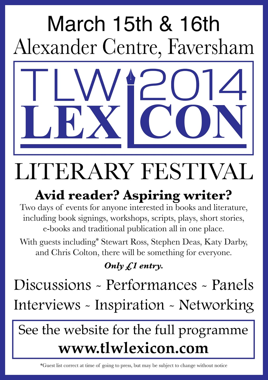 TLW Lexicon 15th & 16th March 2014
