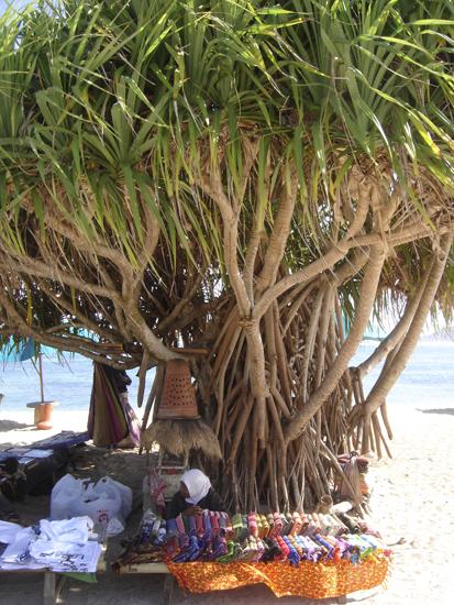 Una vendedora en la playa de Lombok