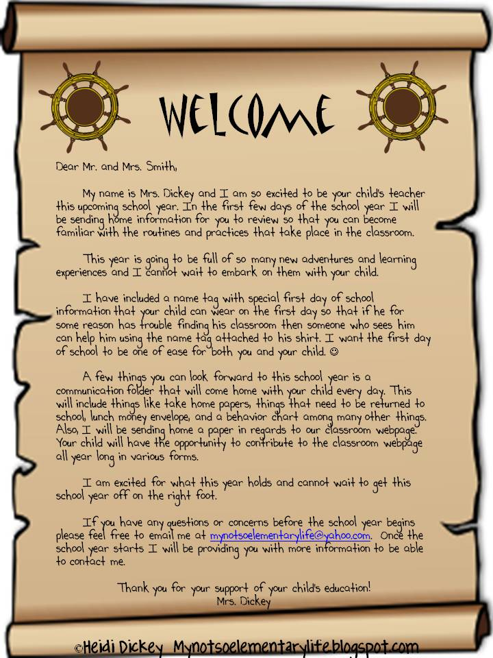 Welcome School Year Parent Letter. Sample Welcome Letter to Parents ...