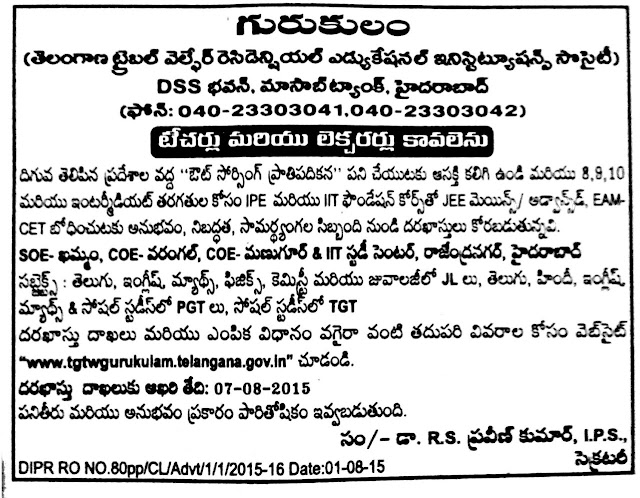 TSTWAREIS Gurukulam TGT/Teachers PGT/Lecturers Recruitment Notification