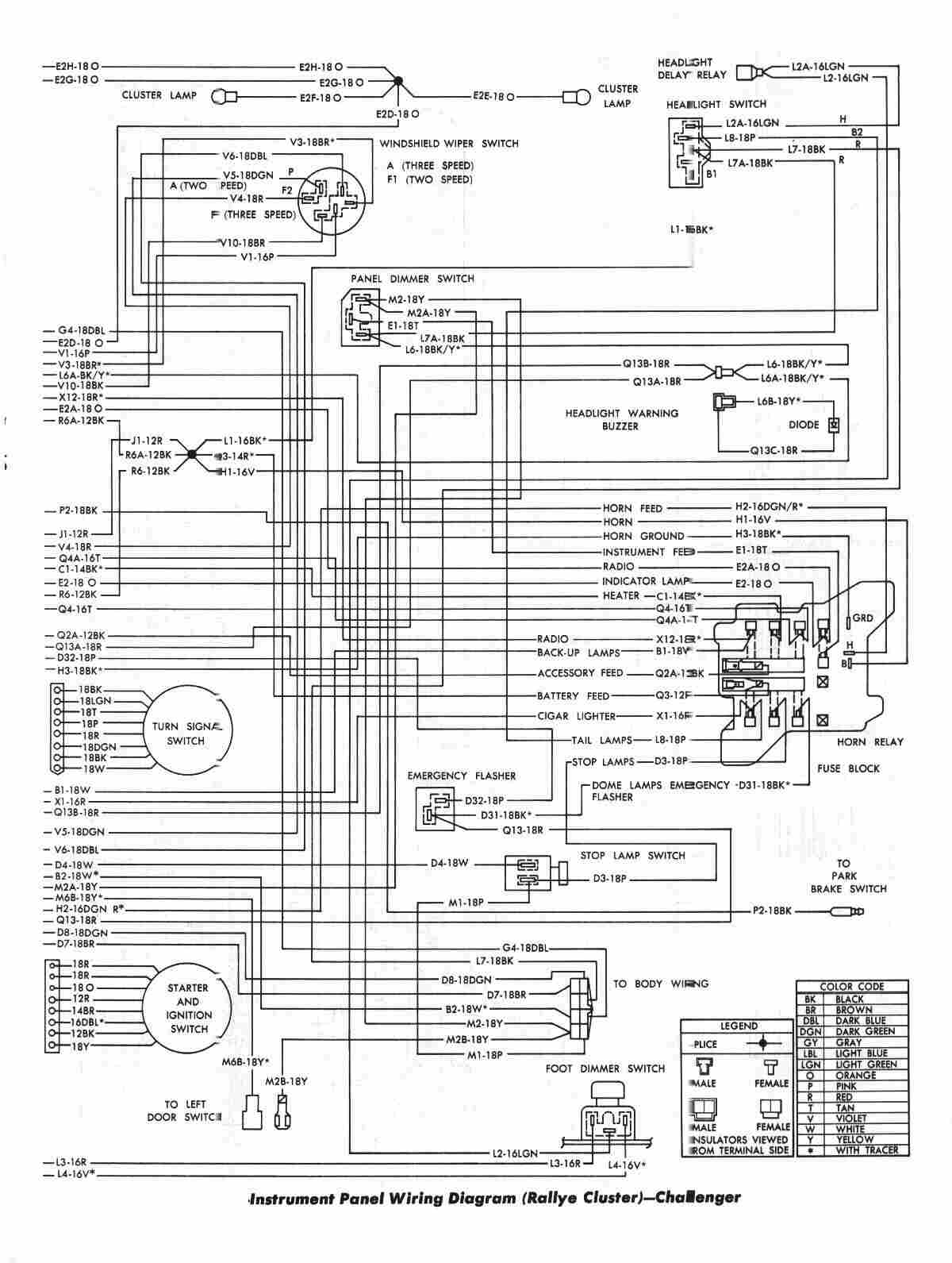 Dodge+Challenger+1970+Instrument+Panel+Wiring+Diagram+(Rallye+Cluster) dodge challenger 1970 instrument panel wiring diagram (rallye 1970 dodge charger wiring diagram at gsmx.co