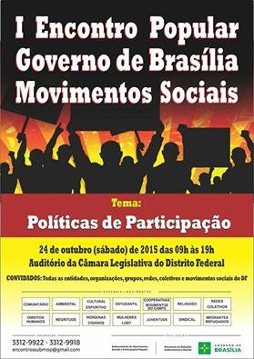 I ENCONTRO POPULAR GOVERNO DE BRASILIA MOVIMENTOS SOCIAIS