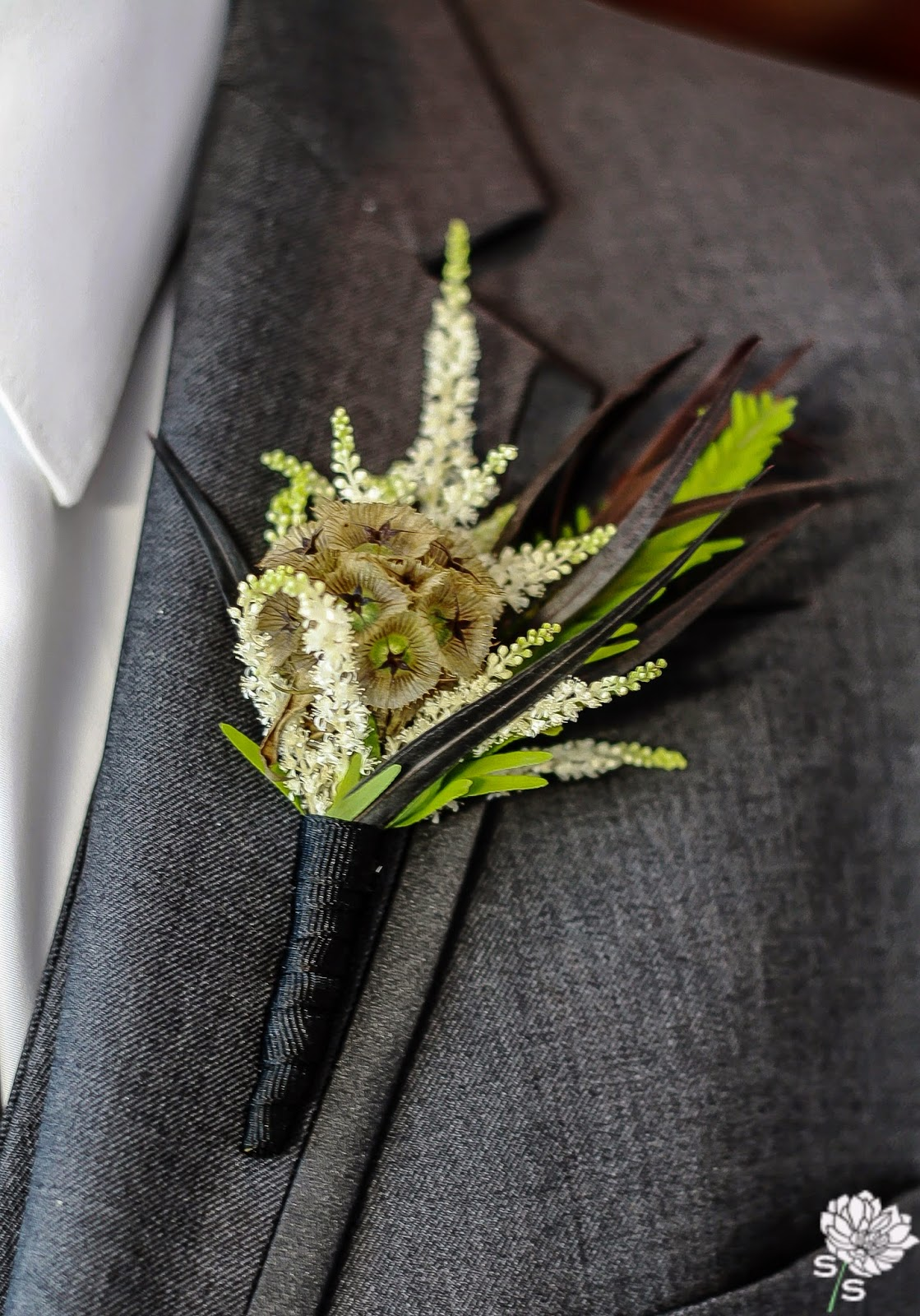 The Roundhouse Wedding - Beacon, NY - Hudson Valley Wedding - Boutonniere - Scabiosa Pod - Wedding Flowers - Splendid Stems Floral Designs