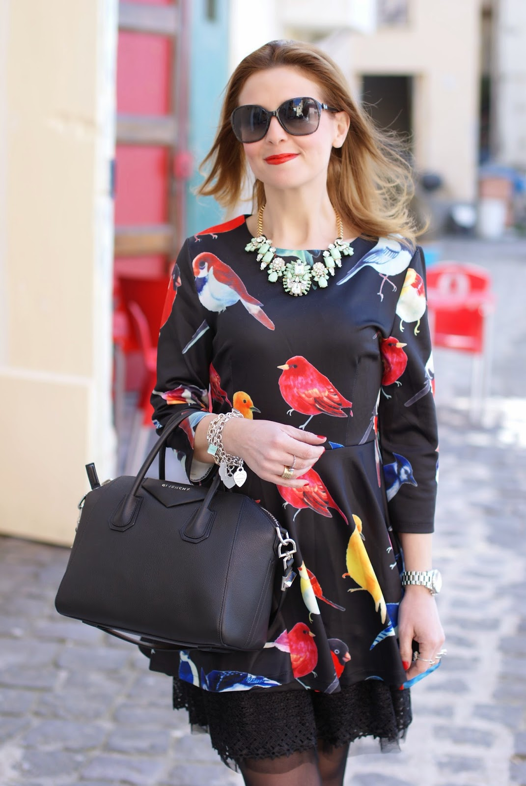 sheinside birds print dress, Givenchy Antigona bag, Fashion and Cookies, fashion blogger