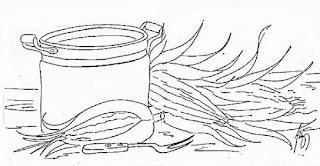 desenho de panela e milhos para pintar
