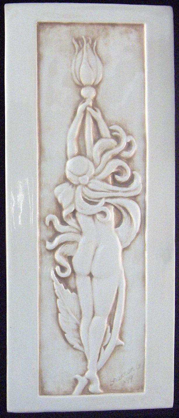 Decorative Handmade Ceramic Tile Relief Carved Art Deco Rose Fairy