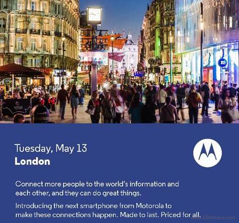 Il data 13 maggio 2014 Motorola presenterà a londra un nuovo device mobile