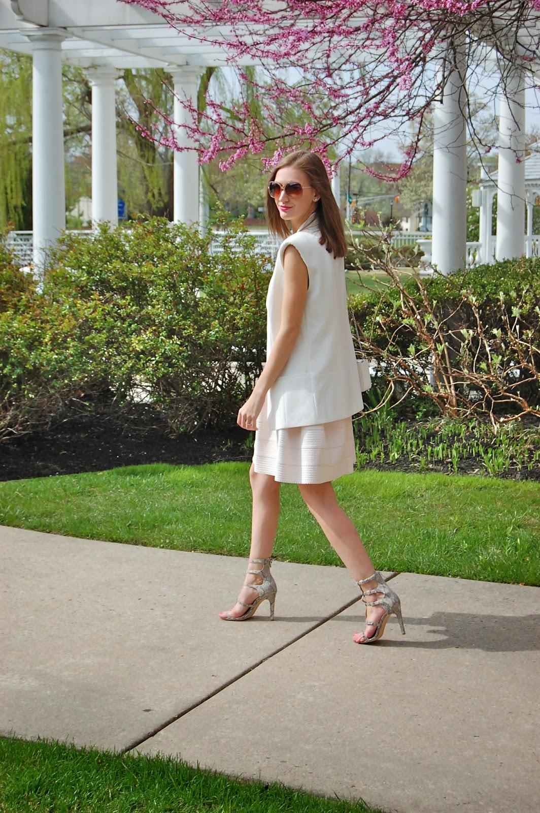 Wearing Trouve sema detail power vest from Nordstrom, Francesca's bandaged pink strapless dress, Bcbgeneration manci sandals, spring dress