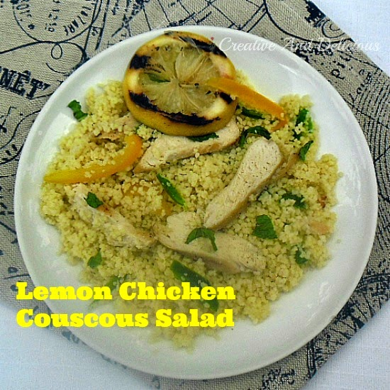 Lemon Chicken Couscous Salad ~ Quick & Easy to prepare and perfect for a light dinner or lunch ! #Healthy #CouscousRecipe #Salad #ChickenSaladRecipe