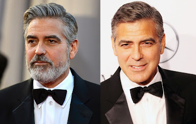 George Clooney with and without his beard