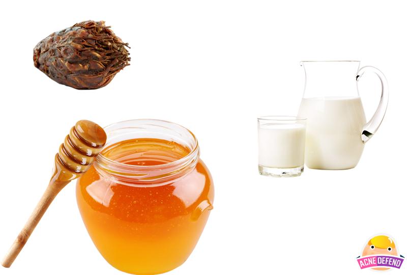 สูตรพอกหน้าลดสิวมะขามเปียก + น้ำผึ้ง + นมสด