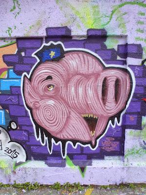 Schweinderl an der Mauer, Tumblingerstraße, München, Graffiti, Streetart