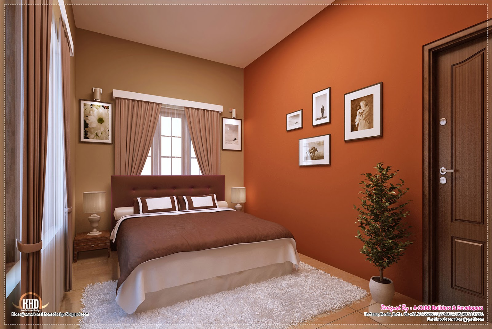 Awesome interior decoration ideas home kerala plans for Bedroom interior images