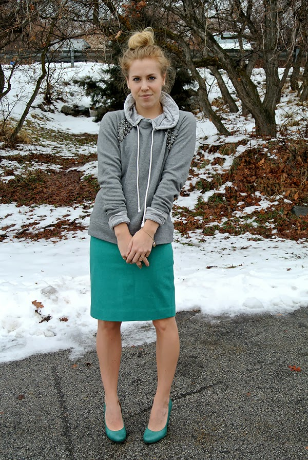 aBree Fashion: teal pencil skirt with a hoodie