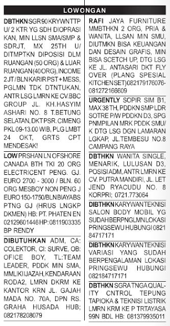 Lowongan Baris Radar Lampung 17 Oktober 2015