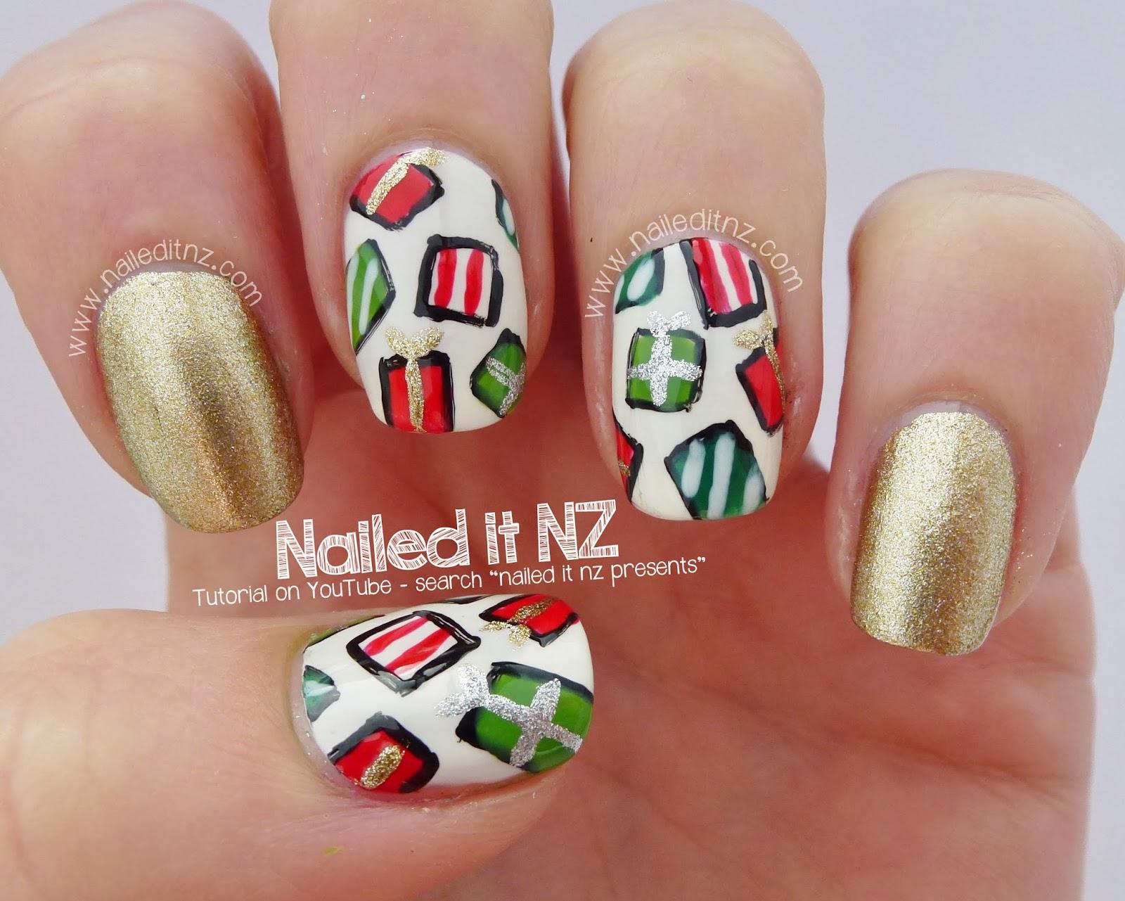 christmas present nail art tutorial 12 days of christmas