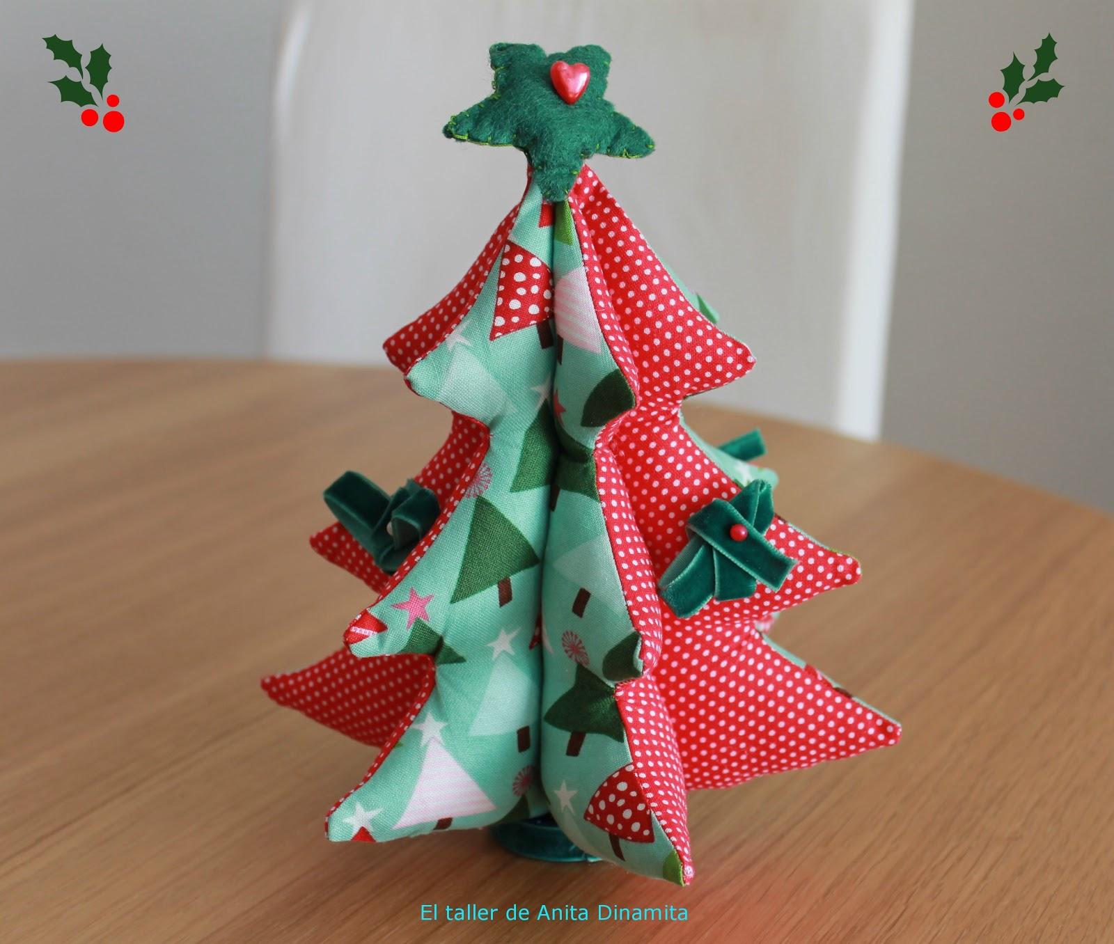 El taller de anitadinamita arbolito navide o de tela - Arbol de navidad de tela ...