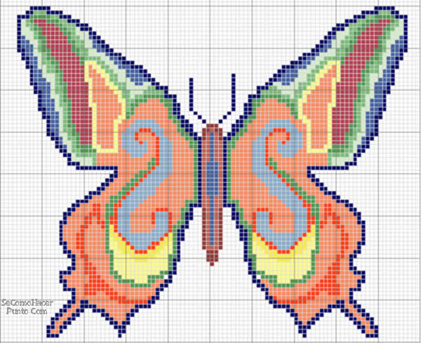 Manualidades bordados de mariposa en punto de cruz - Dibujos para hacer punto de cruz ...