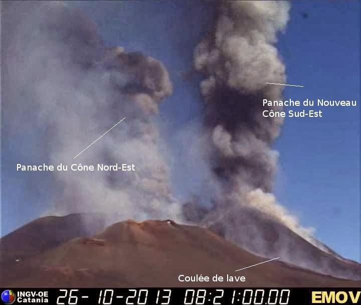 Le double panache de cendres du volcan Etna, 26 octobre 2013