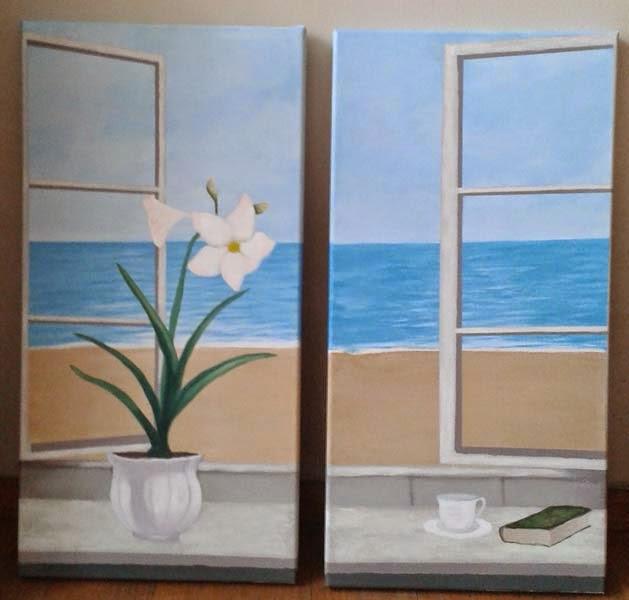 ventana abierta al mar con flores libro y taza
