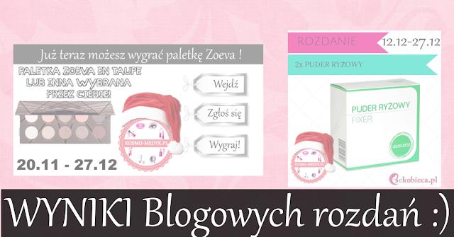 Wyniki blogowych rozdań | Paletka Zoeva + Puder Ecocera