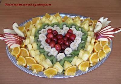 красивая нарезка фруктов для украшения стола
