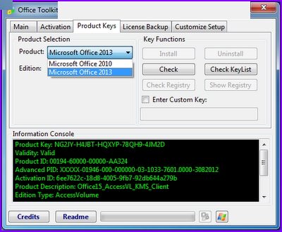 activate installed office 2010 product keys