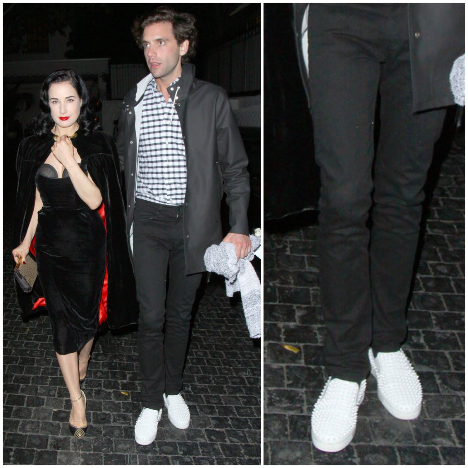 00O00 Menswear Blog Mika in Christian Louboutin mens Rollerboat with white studs - Chateau Marmont night out with Dita Von Teese March 2013