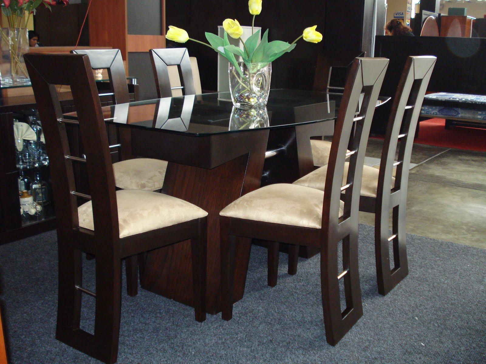Comercial cobala s a comedores for Juego de comedor de madera de 6 sillas