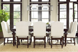 baers Universal Furniture Proximity Dining Set with Rectangular Table and Upholstered Chairs.