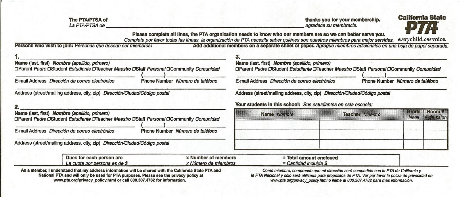 Nice Pta Membership Form Template Gallery - Entry Level Resume ...