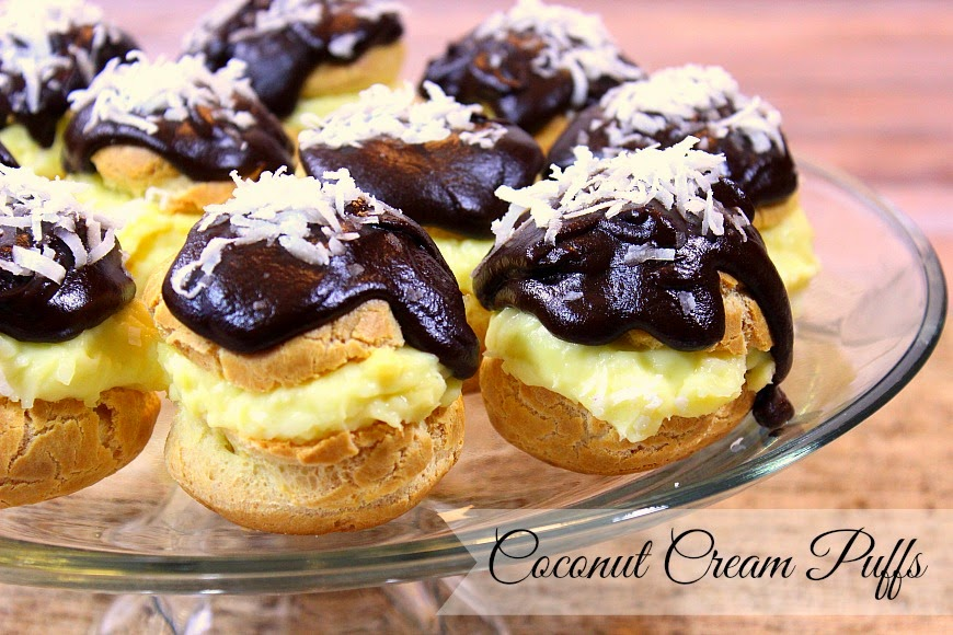 Coconut Cream Puffs are a tasty take on a coconut cream pie, only in cream puff form.