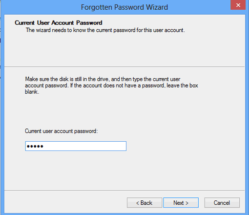 type current user account password to create password reset disk