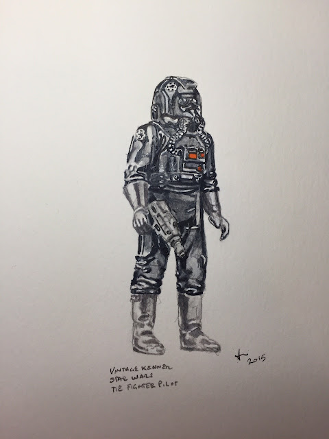 Watercolour of Tie Fighter Pilot toy from 1980