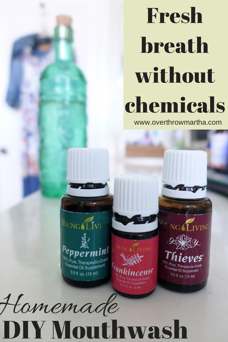 Easy all natural mouthwash #chemicalfree #essentialoils #Thieves