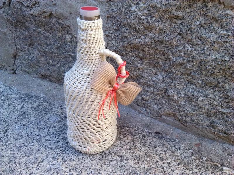 Las creaciones de noelia mi abuela botella forrada for Cuerda de pita