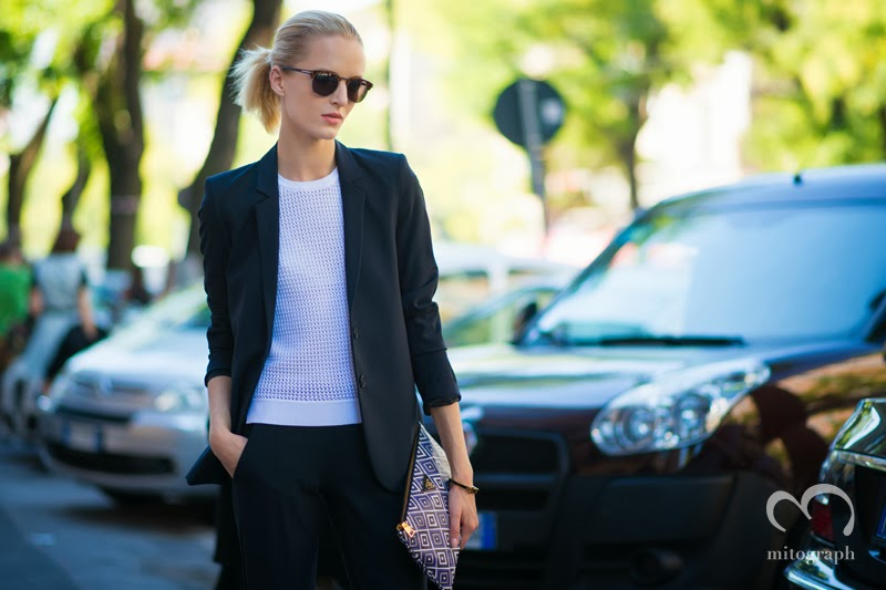 Model Daria Strokous is coming outside of Fendi 2014 Spring Summer Fashion Show at Milan