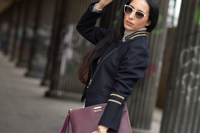 WOWS Fashion Blogger with Navy Blue Military Short Coat