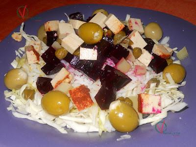 Ensalada de remolacha, arroz y col.