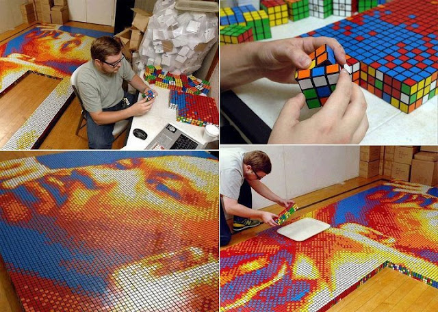 Amazing Art made using only Rubik Cubes