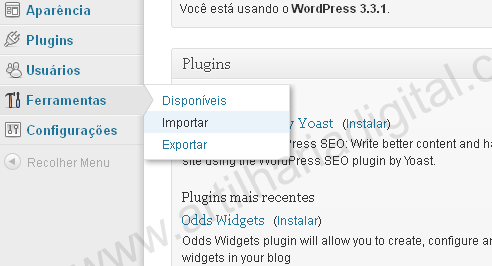 Como migrar do Blogger para Wordpress com o Blogger Importer.