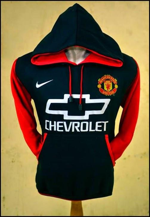 New Jumper Hoodie Bola Kombinasi 2014 - 2015 Manchester United MU Chevrolet (hitam kombinasi merah) sponsor putih