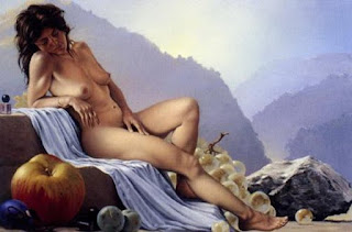 bodegon surrealista con mujer al oleo