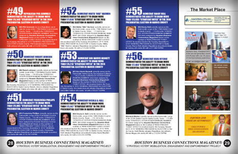 "PAGES 28 AND 29 - HOUSTON BUSINESS CONNECTIONS MAGAZINE© ""STRATEGIC VOTER"" MOBILIZATION CAMPAIGN"