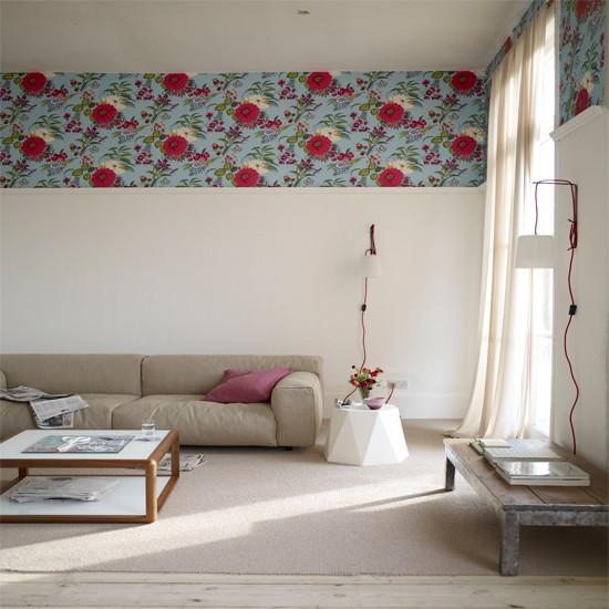 salon avec bordure de papier peint - Photo De Papier Peint Pour Salon