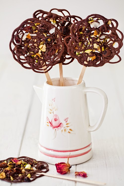 Chocolate-Lace Lollipops with Dried Fruit & Nuts at Cooking Melangery
