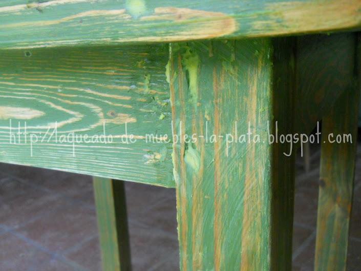 Terminación decapeé color verde y lustre con cera en muebles de ...