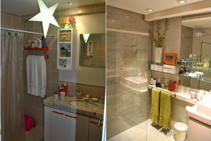 Decorando por ai Reformas em banheiros  Antes e depois -> Reforma De Banheiro Pequeno Antes E Depois